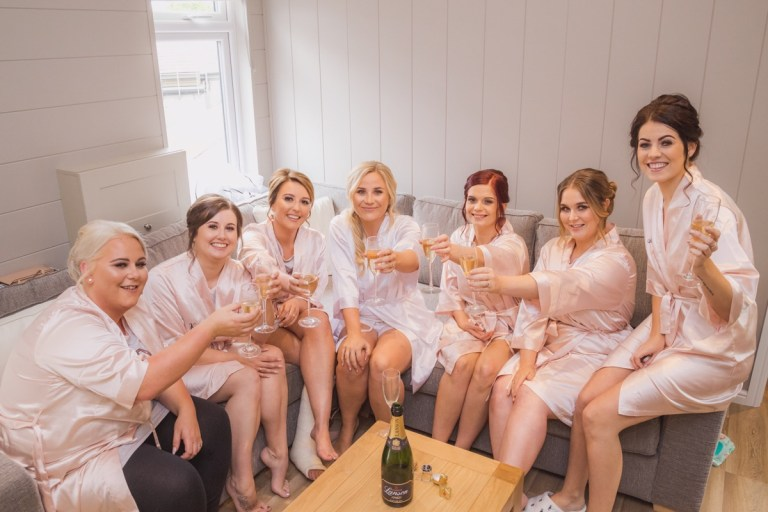 The girls getting ready before the big day!