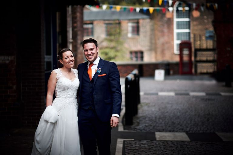 The happy couple outside their venue!
