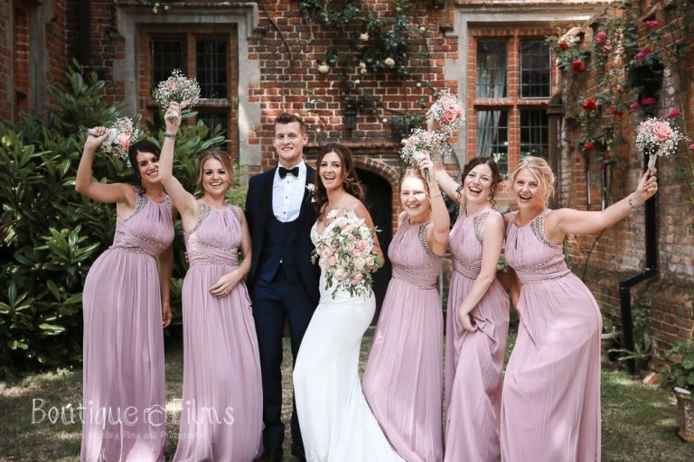 The bridal party celebrating the big day.