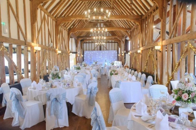 The stunning thatched barn with exposed oak beams is perfect for rustic weddings!