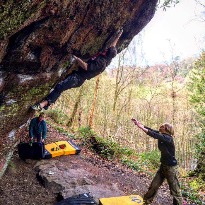 Tom bouldering at Churnet, 200 kb