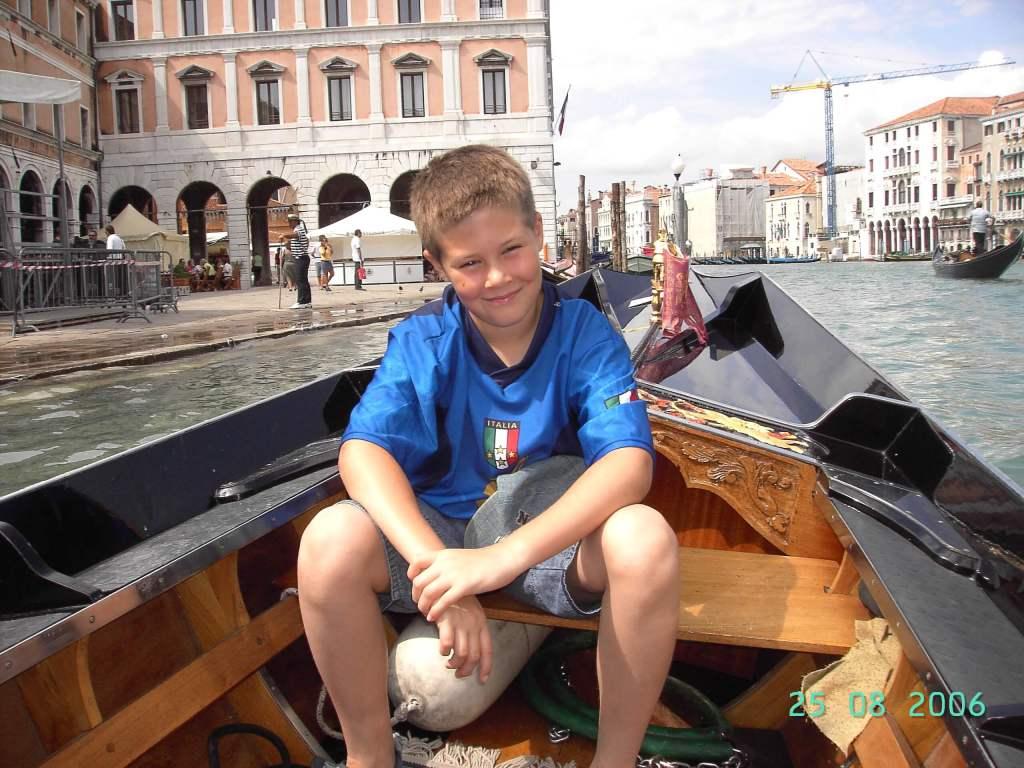 A boy on a gondola