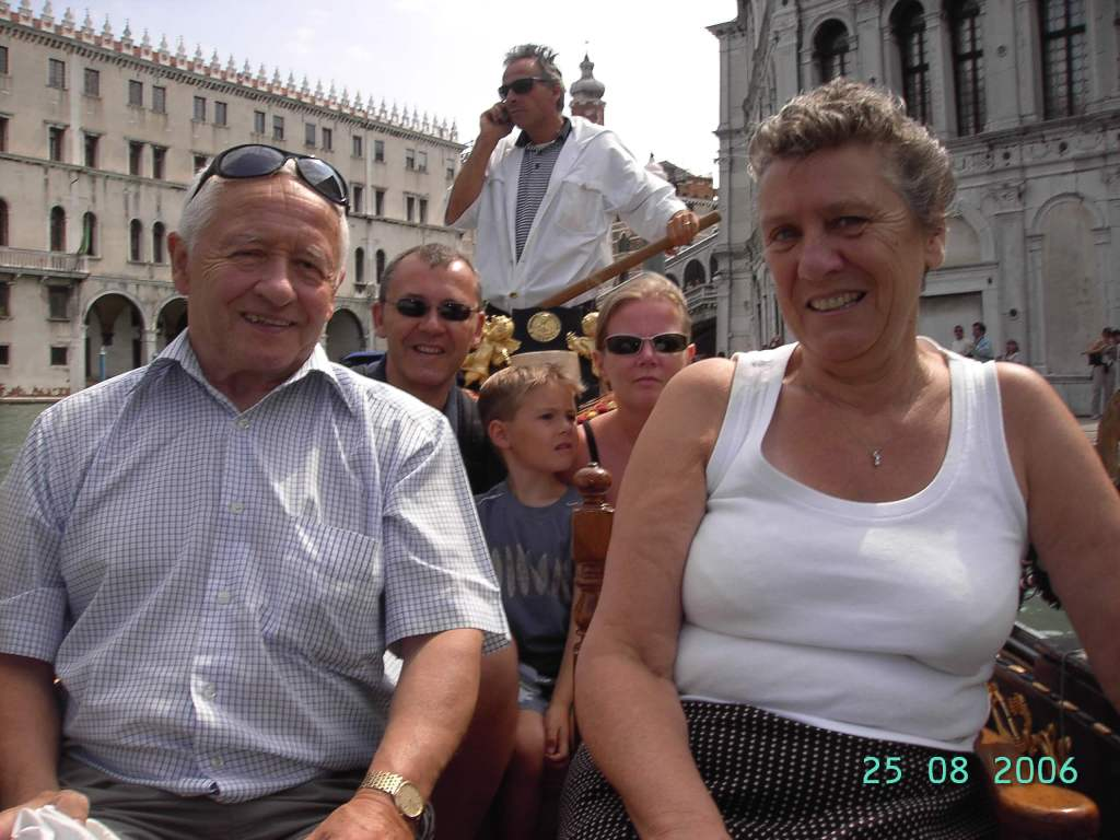 five people on a gondola