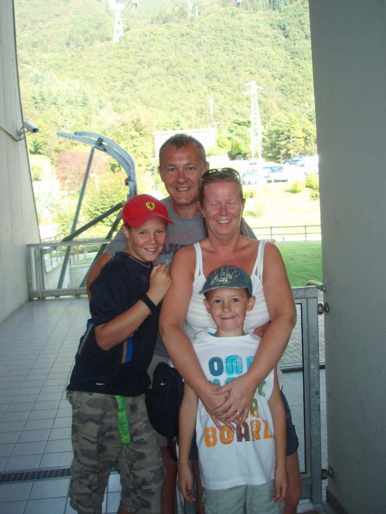 a family at the ski station at Malcesine