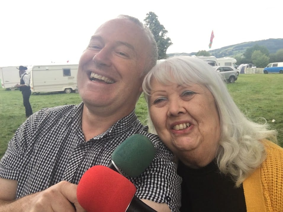Allan with Nutty Norah on an outside broadcast