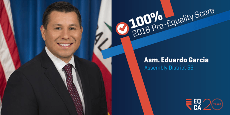 Garcia Gets Perfect Score from Equality California