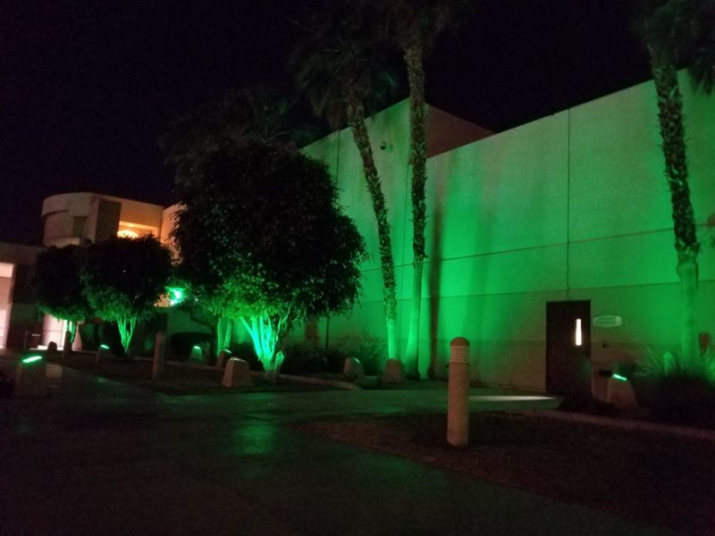RivCo Buildings Lime Green for Mental Health Month