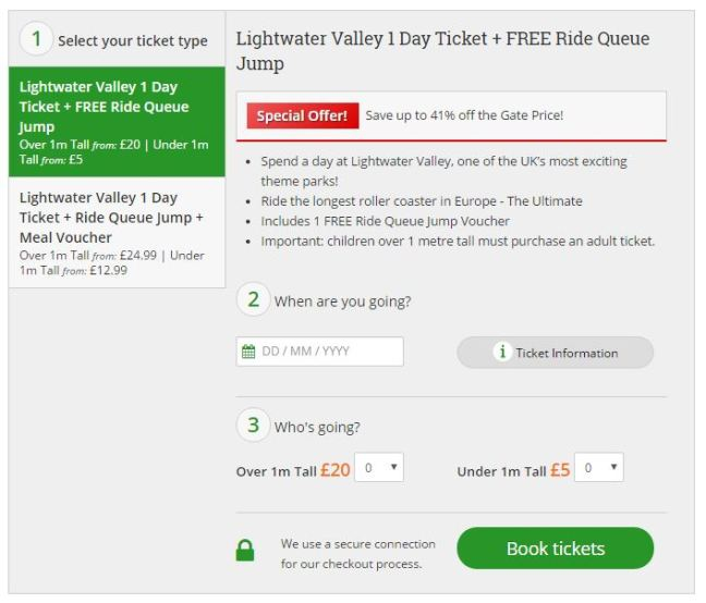 lightwater valley cheap tickets