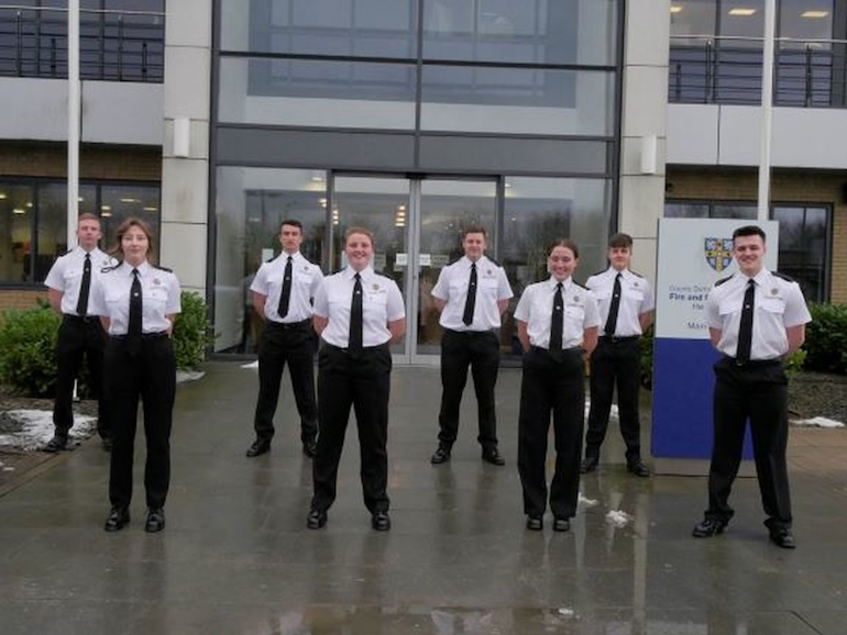 Fourth cohort of firefighter apprentices at New College Durham.