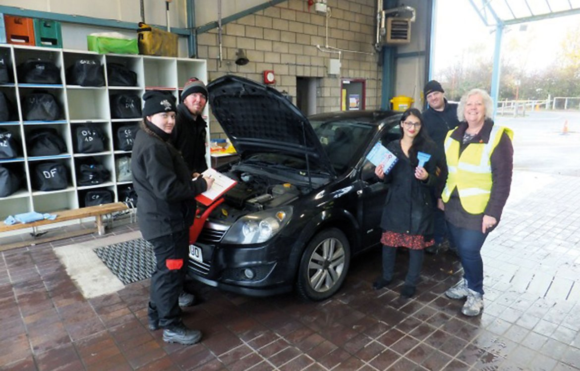 Cleveland Fire Brigade links up with partners to provide drive-thru vehicle safety checks at Coulby Newham Community Fire Station.