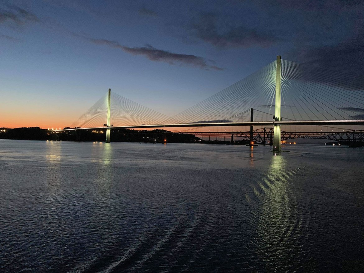 View of the Road and Rail Forth Bridges.