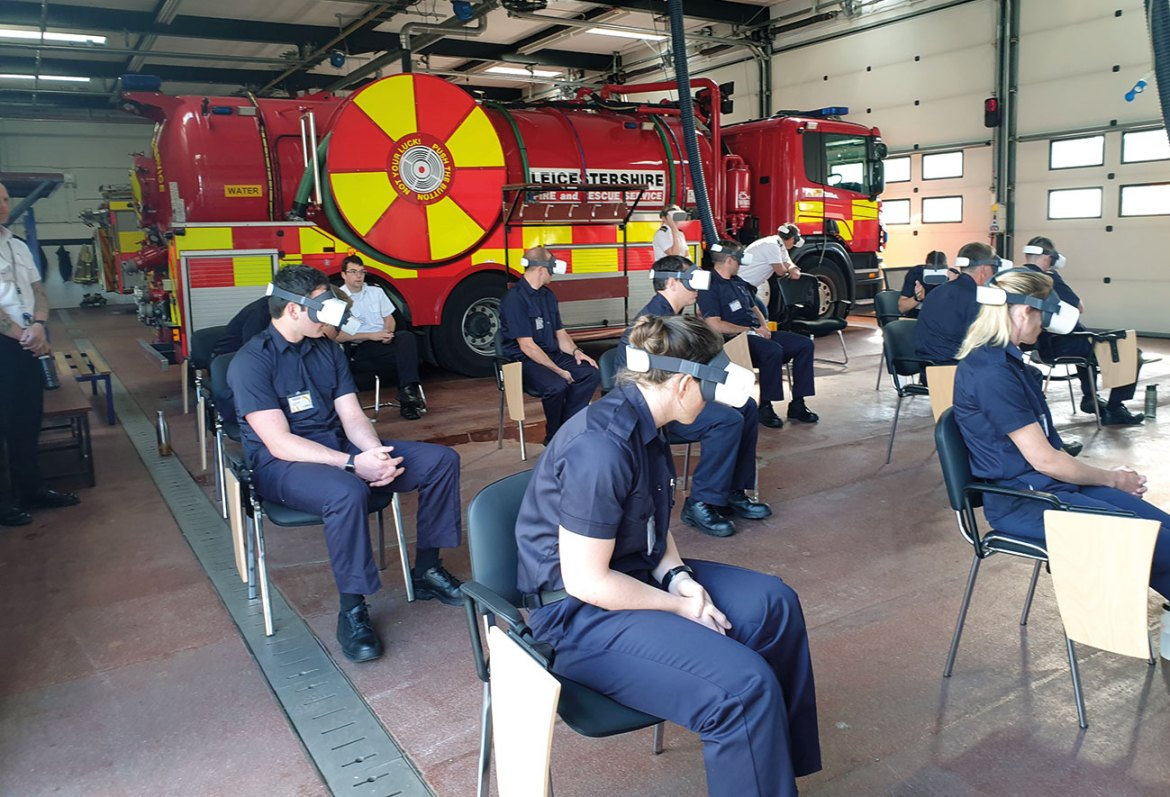 New recruits experiencing fire in VR.