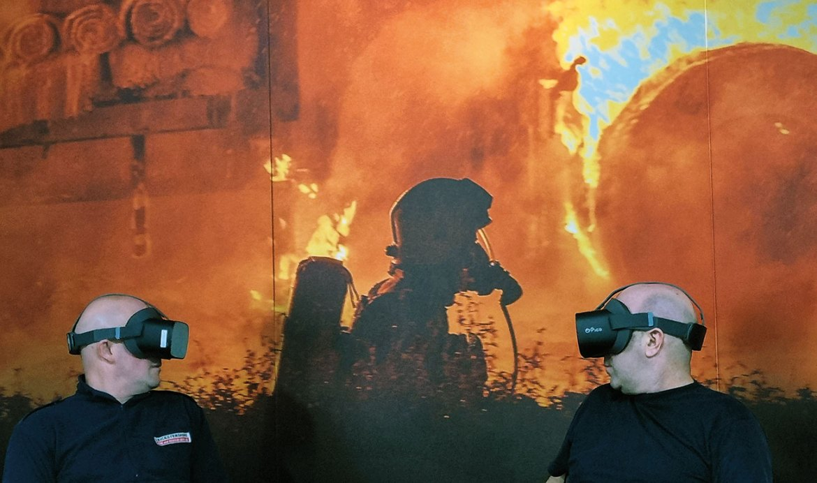 Firefighter immersed in the VR world.