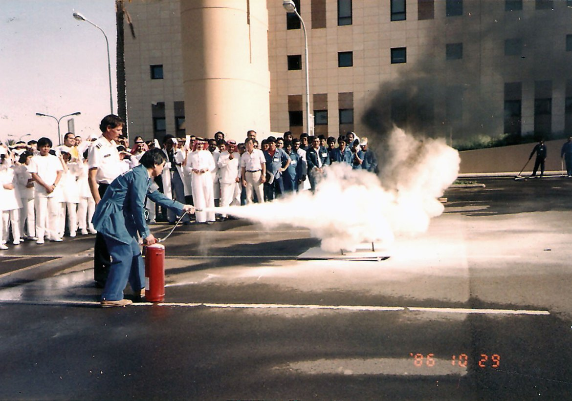 Practical training of staff at a military hospital in Saudi Arabia.