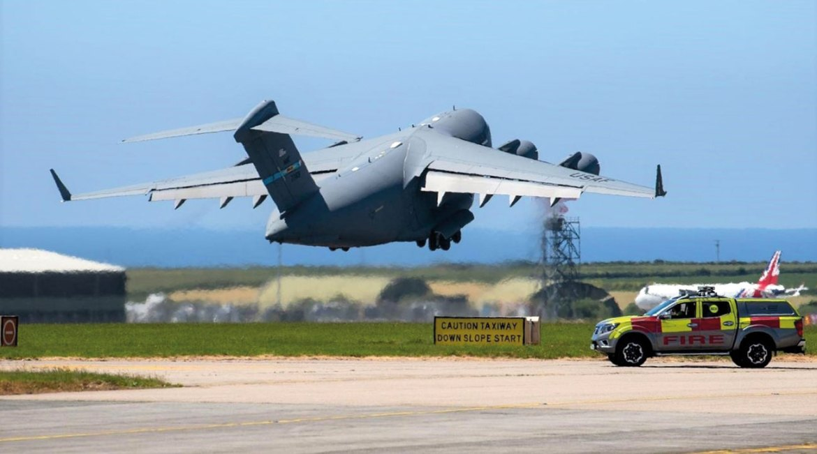 Official statistics record 152 aircraft movements at Cornwall Airport Newquay over the period of the G7 summit. This image captures a departing USAF Globemaster C17 aircraft with the United Kingdom's Airbus A321 in the background with its distinctive livery.