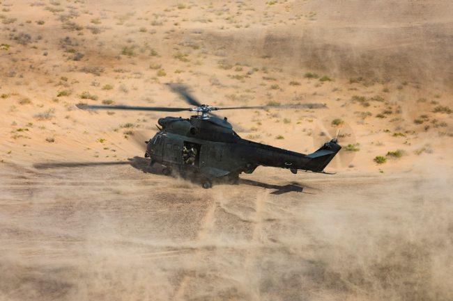 RAF Puma Helicopters Perform Dust Landings Saif Sareea 3