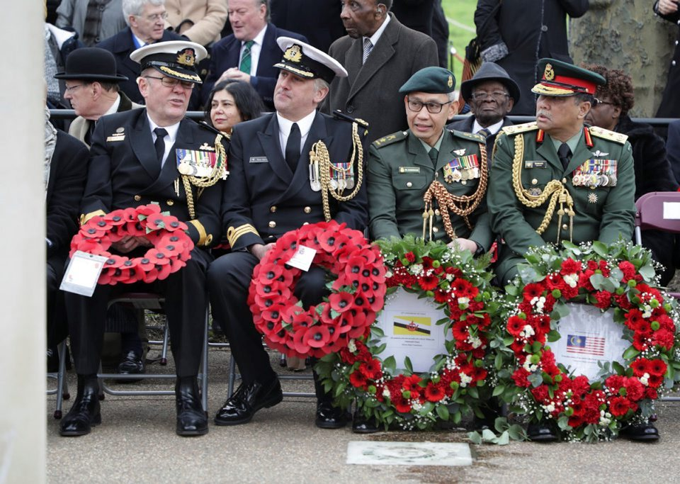 Military personnel from across the Commonwealth, seen here at Memorial Gates in London