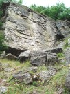 Looking up at the quarry wall