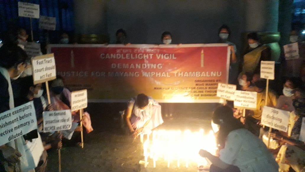Candlelight vigil at Western Gate of Kangla fort Imphal for justice for gang raped victim 2