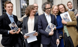 Guardian: James Rhodes and friends including Benedict Cumberbatch outside Court