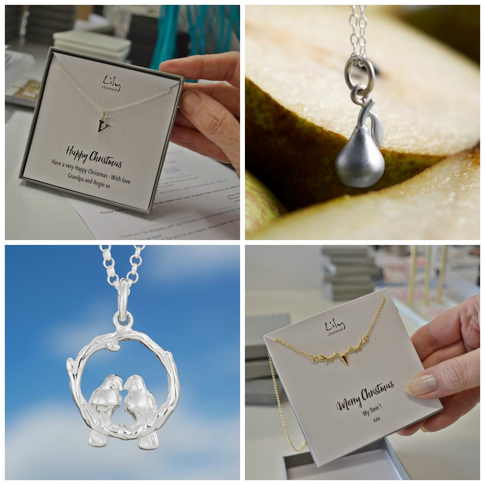 Lily Charmed Images Christmas Personalised message card. Pear Necklace Two Turtle Doves Necklace Stag Necklace