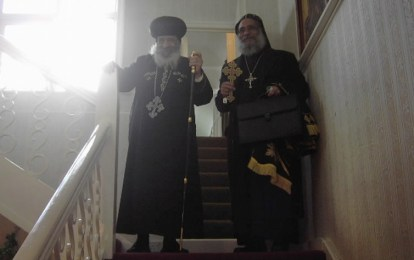 His Holiness Pope Shenouda with His Grace Bishop Missael during HH last visit to Birmingham