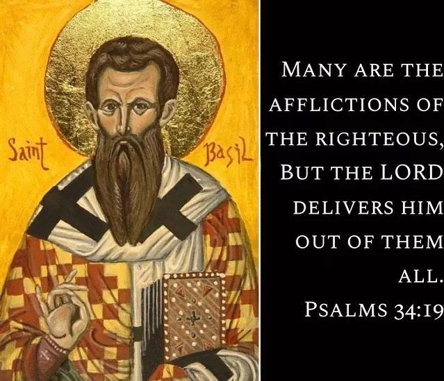 """""""God does rescue the holy from affliction but He does so not by rendering them untested but by blessing them with endurance.""""- St. Basil the Great #coptic #orthodox #righteousness #affliction"""
