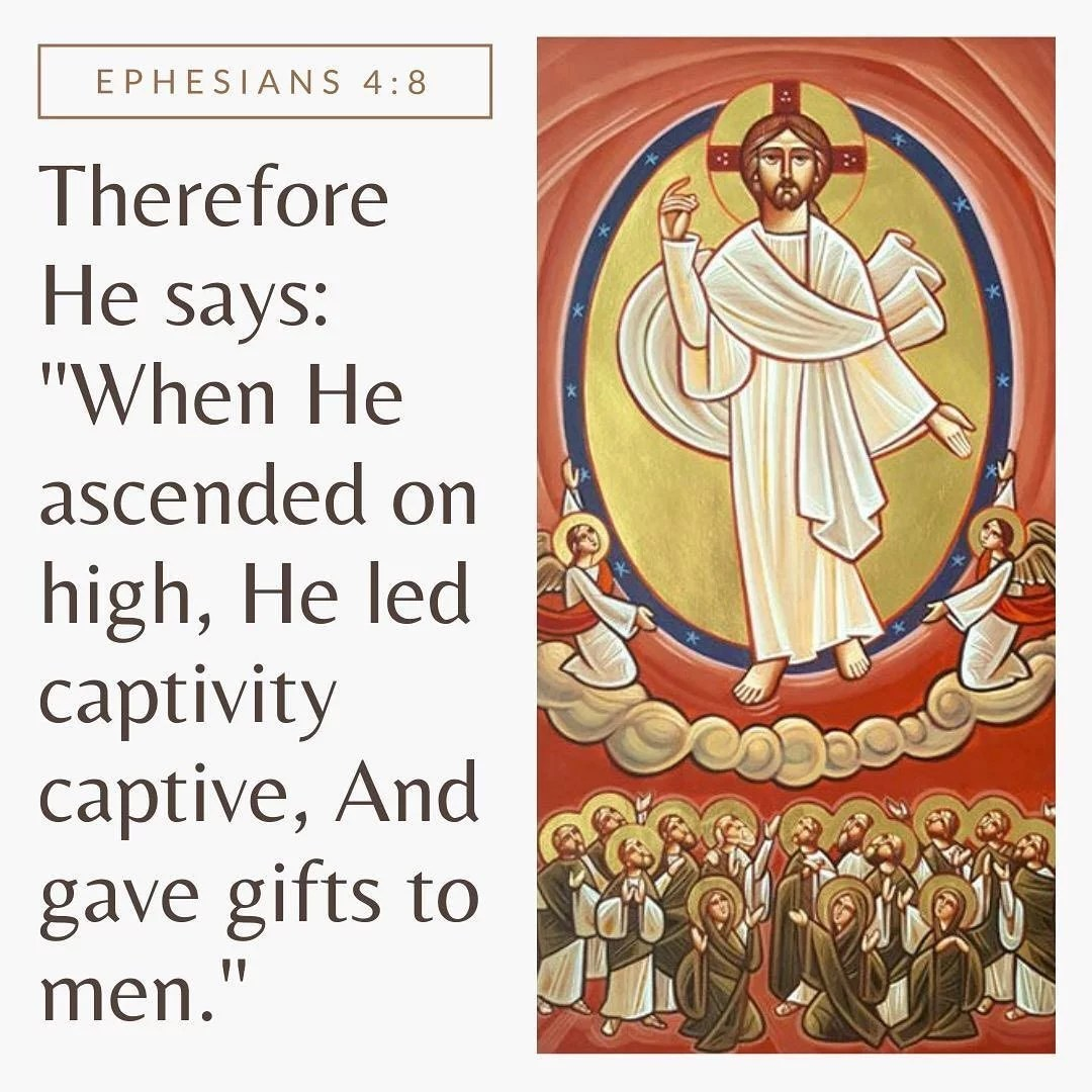After Christ freed us we were snatched out of an old captivity into a new freeing captivity [to Christ] as he led us with him into heaven.  St. Jerome #dailyreadings #holy50 #ascension #ledcaptivitycaptive