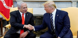 US President Donald Trump greets Israel's Prime Minister Benjamin Netanyahu (courtsey aljazeera)