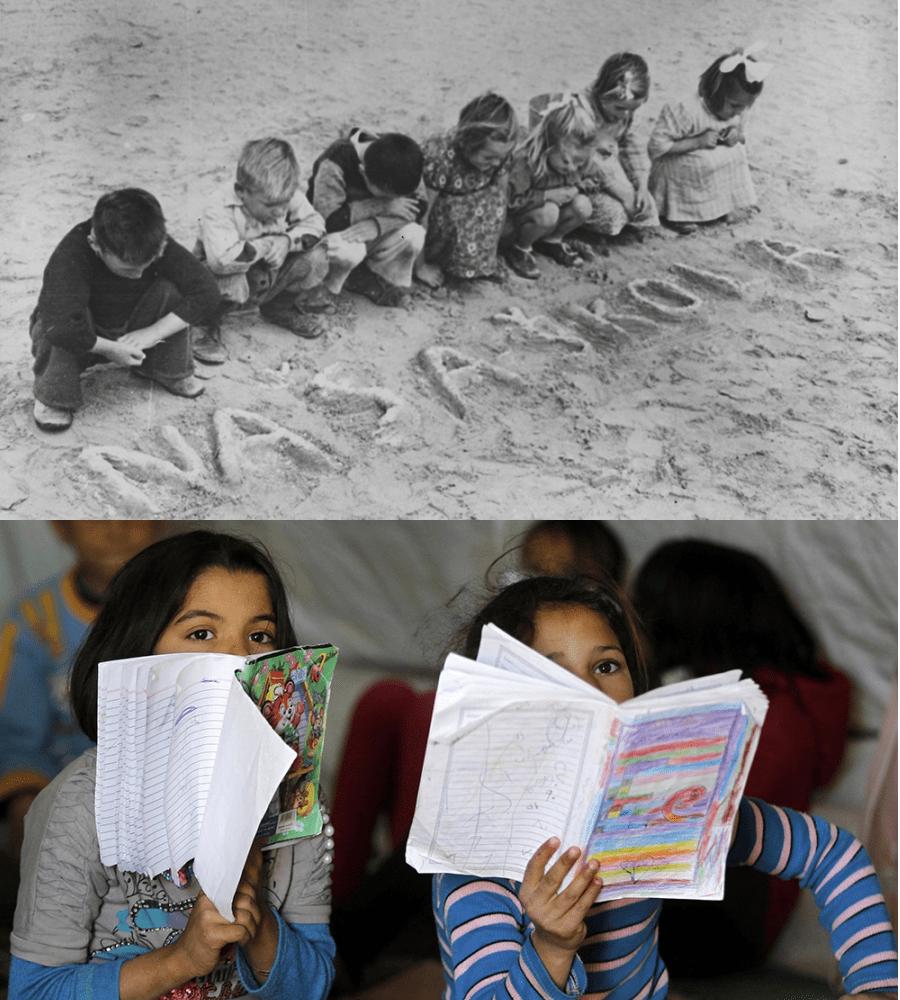 Дети из лагеря для беженцев в Толумбате, Египет, во время Второй мировой войны. Из-за дефицита карандашей дети пишут «naša škola» («наша школа») на песке. В декабре 2013 года дети посещали занятия в неофициальном лагере для беженцев в Аммане, Иордания. Фото предоставлены Отделом управления архивами и записями ООН и Мухаммедом Хамедом, Reuters.
