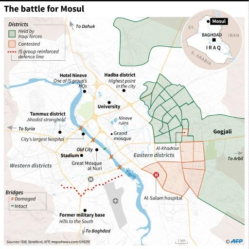 Карта міста Мосул та розташування сил станом на листопад 2016 року. Джерело: Phys.org