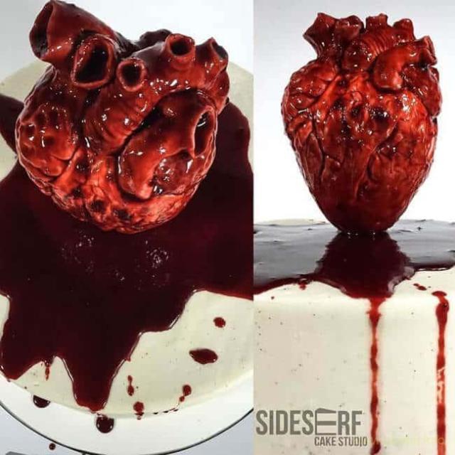Жуткий свадебный торт в форме окровавленного человеческого сердца – не для слабонервных!