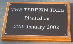 Black anodized aluminium plaque on a blacking board