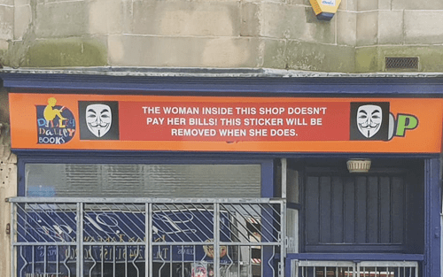 Sign maker takes vigilante action against a customer he claims has not paid him.