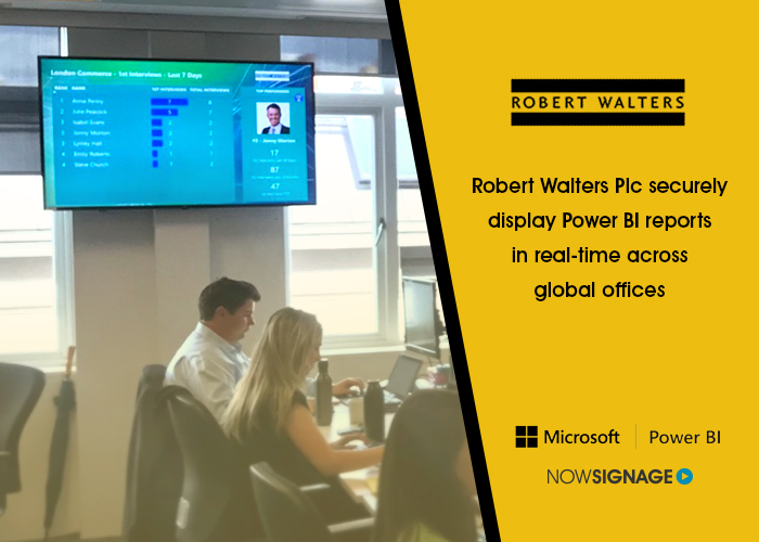 , Robert Walters implement live Business Intelligence onto Global office screens