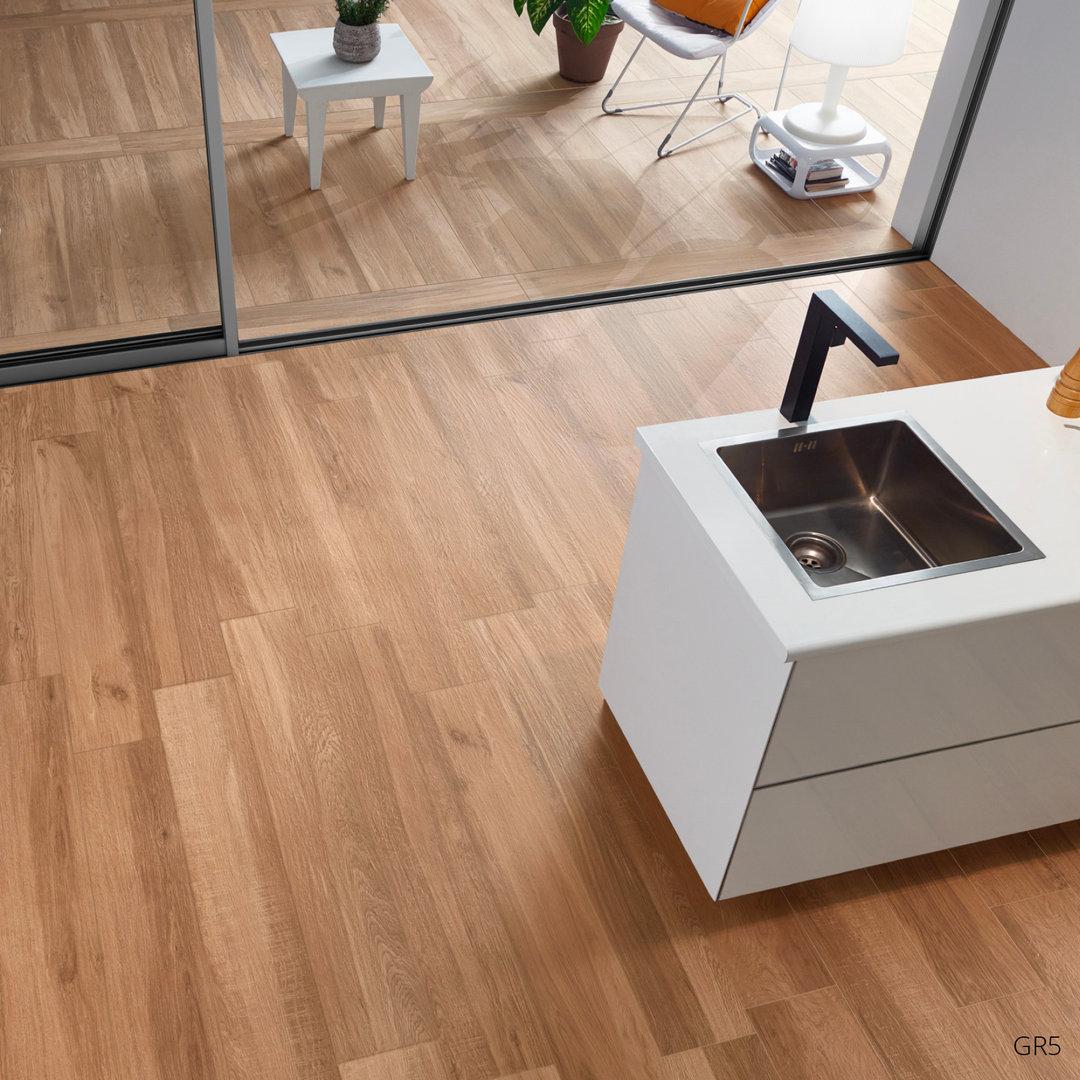 grove series wood effect light brown porcelain floor tiles 1200x200mm