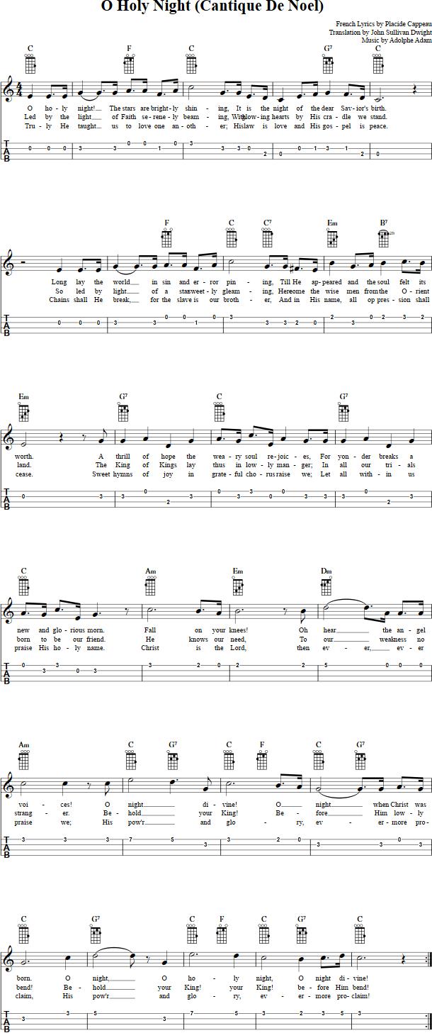 O Holy Night Ukulele Chords Sheet Music Tab Lyrics