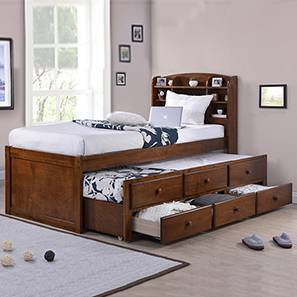 Trundle Beds  Check 9 Amazing Designs   Buy Online   Urban Ladder Ateneo Storage Headboard Single Bed with Trundle and Storage  Single Bed  Size  Polished Cherry