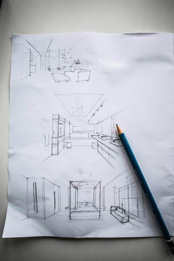 how to make interior design sketches easy