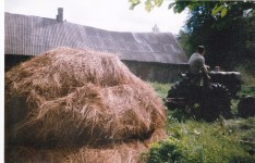 Foto on tehtud Usindi talus ilmselt 90ndate keskel. Pildil Viljar vedamas heinakoormat Augusti traktoriga