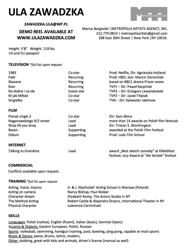 Ula Zawadzka resume