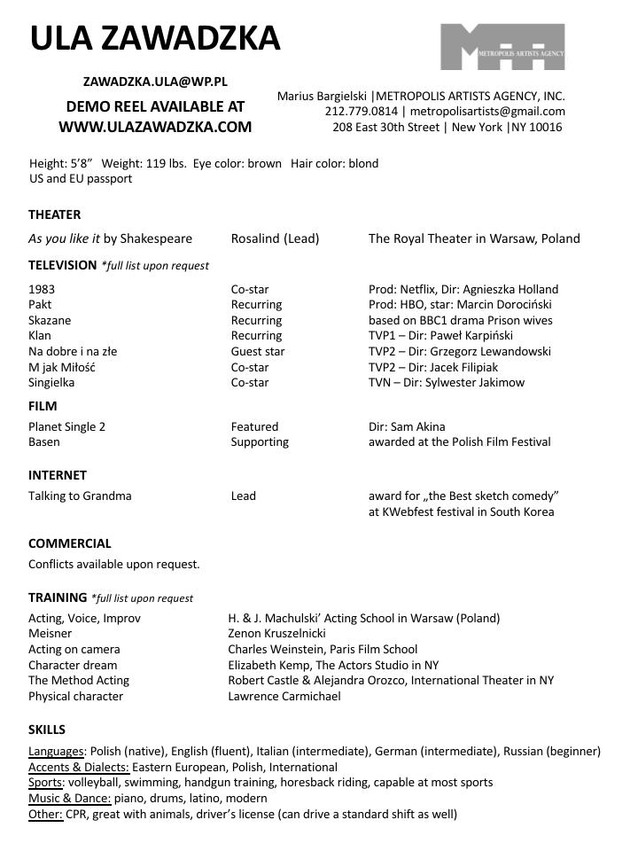 Ula Zawadzka resume 2018