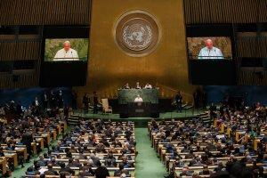 Nach dem Besuch bei Barak Obama am 23.9.2015 sprach der König der Vatikan Stadt am 24..9.2015 in den Vereinten Nationen