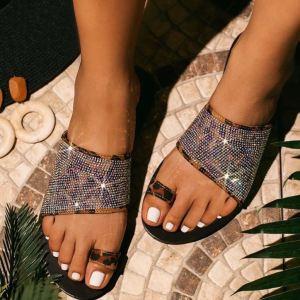2020 slippers for european ladies outdoor wear summer rhinestone sandals