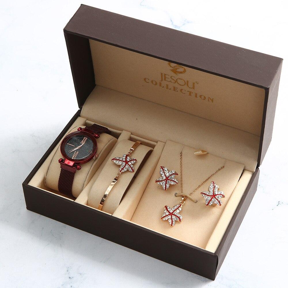 4pcs/set Ladies Gift Set Beautifully Packaged Watches+bracelet Earrings Necklace Bracelets Creative Combination Set Reloj Hombre
