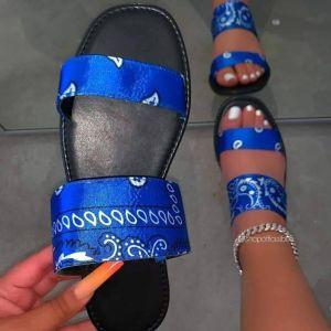 Beautiful cheap ladies flat summer beach open-toe flip flops women bandana slides