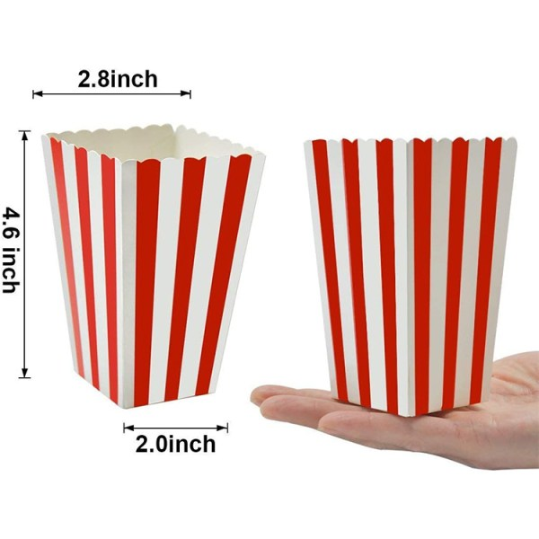 Birthday theater themed parties foldable paper striped popcorn boxes