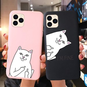 Silicone Case For iPhone 11 Pro XR XS Max 12 Mini X SE 2020 7 6 6S 8 Plus Case Cute Cat Animals iPhone11 Pro Max Candy TPU Cover