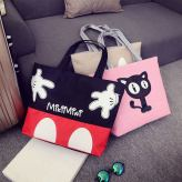 One Shoulder Mickey Hand Large Canvas Print Bag