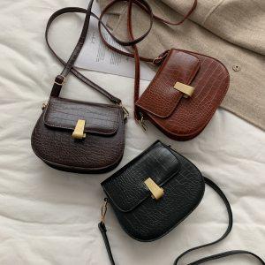 Luxury Fashion Women Designer 2021 Crossbody Bag Crocodile Semicircle Saddle Bags Soft Leather Shoulder Bags For Ladies Handbags